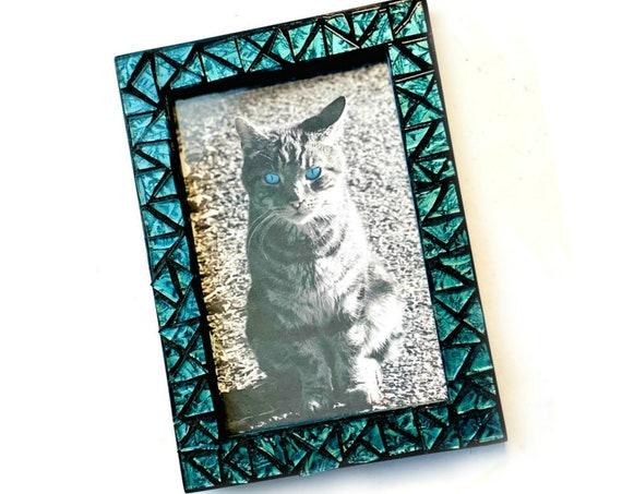 Blue Mosaic Picture Frame, Blue Iridescent Glass Tile Mosaic Frame, Iridescent Van Gogh Glass Frame, 4 x 6 Photo Frame, Blue Green Frame
