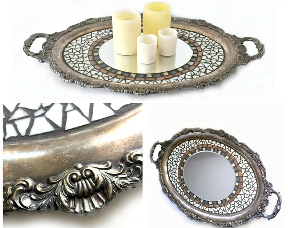 Vintage Mosaic Tray, Mosaic Embellished Vintage Silverplate Tray, Repurposed Mosaic Tray, Mosaic Candle Stand, Mosaic Tray Centerpiece