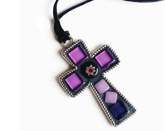 Mosaic Cross Pendant, Purple Cross Pendant, Purple Lavender Cross Pendant on Black Suede Cord, Purple Cross Pendant w/Venetian Glass Bead
