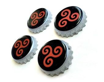 Craft Beer Magnet Set, Geaghans Brewery Magnets, Maine Beer Bottle Top Magnets, Set of Four, File Cabinet Magnet, Refridgerator Magnets
