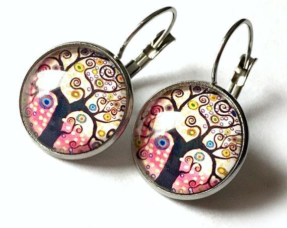 Tree of Life Earrings, Pink Tree Earrings, Tree of Life Pierced Earrings, Surgical Steel Leverback Pink Tree of Life Clip On Earrings