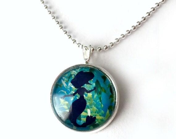 Mermaid Necklace, Aqua Turquoise Mermaid Fantasy Pendant, 16mm Aqua Blue Mermaid Pendant with 24 inch Silver Chain, Aqua Mermaid Necklace