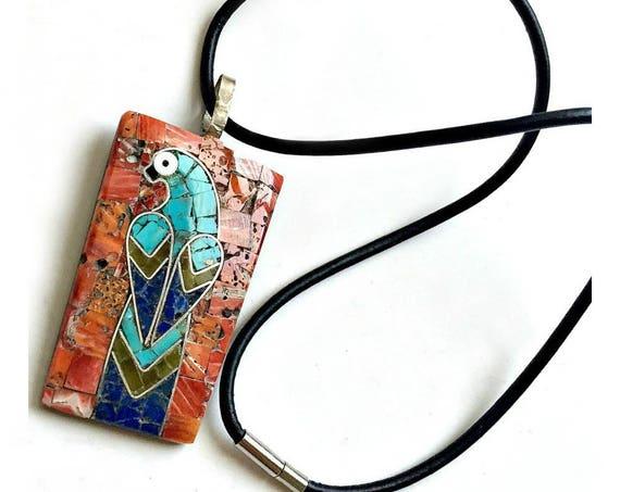Vintage Mosaic Parrot Pendant, Coral Turquoise Parrot Bird Pendant, Vintage Mosaic Bird Pendant Choker, Stone Mosaic Bird Pendant Necklace