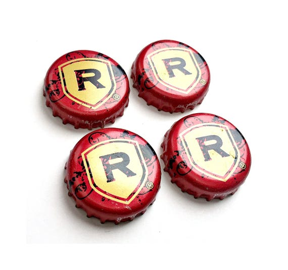 Craft Beer Magnet Set, REDDs Apple Ale Bottle Cap Magnets, Beer Bottle Top Magnets, Set of Four, File Cabinet Magnet, Refrigerator Magnets