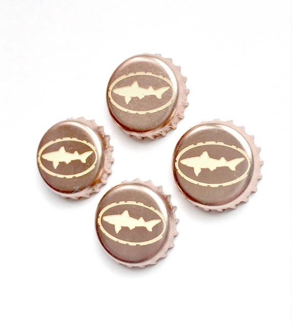 Craft Beer Magnet Set, Dogfish Head Brewery Magnets, Delaware Beer Bottle Top Magnets, Set of Four, Shark Magnet Set ,Refrigerator Magnets