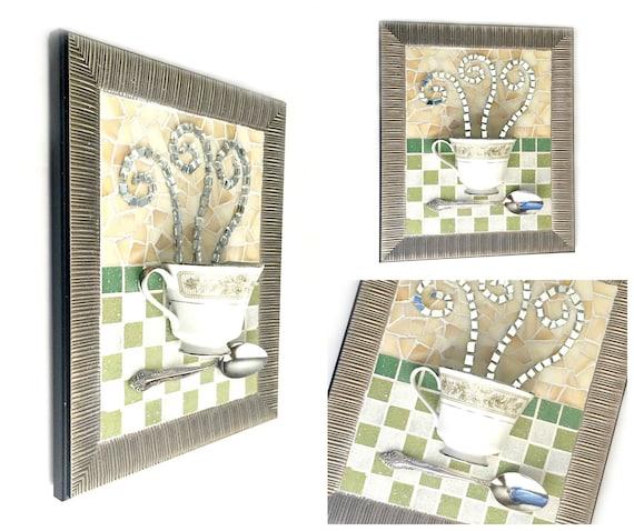 Mosaic Teacup Art, Sage Green Mosaic Floral Teacup Art, Mixed Media Coffee Art, Framed Tea Cup Art, Tea Lover Kitchen Mosaic Art, Teacup Art