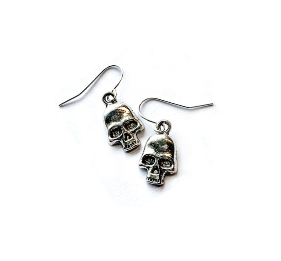 Skull Earrings, Silvertone Skull Earrings, Handmade SKULL Earrings, Dangling Pierced Skull Earrings, Pierced Skull Earrings, Silver Skulls