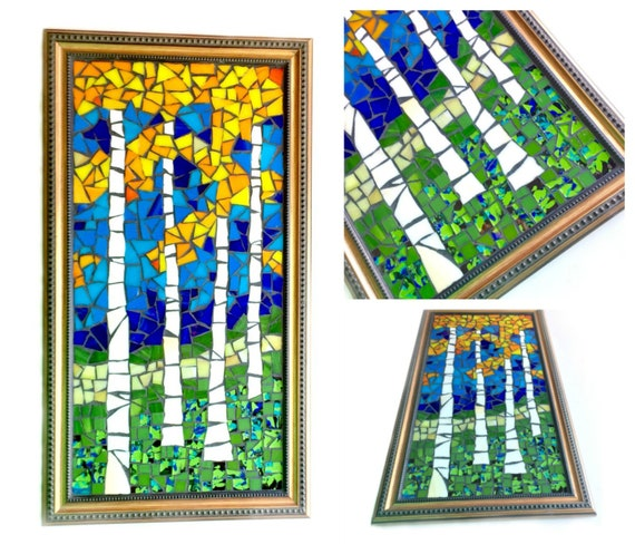 Mosaic Art, Birch Tree Mosaic Art, Mosaic Landscape Art, Aspen Trees Mosaic Art, Framed Mosaic Art, Mosaic Birch Forest Art, Fall Autumn Art