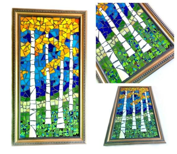 Mosaic Art, Birch Tree Mosaic Art, Mosaic Landscape Art, Aspen Trees Mosaic Art, Framed Mosaic Art, Mosaic Birch Forest Art, Fall Autumn Art
