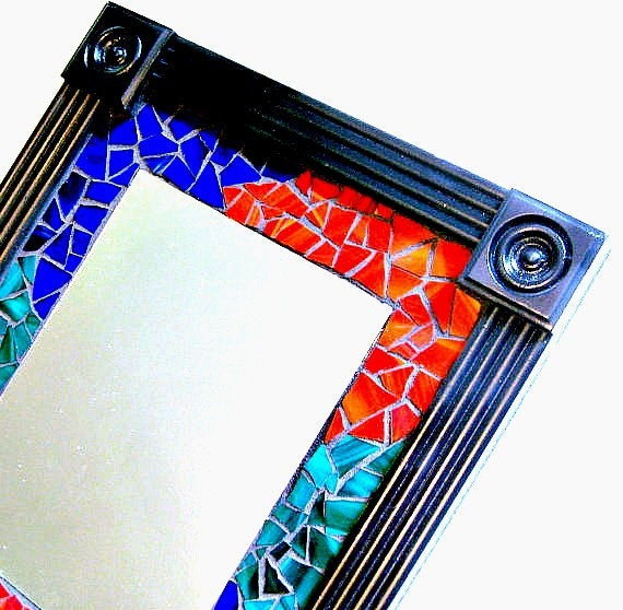 SALE Mosaic Wall Mirror, Framed Mosaic Mirror, Multicolored Mosaic Mirror, Black Red Blue Green Mirror, Large Stain Glass Mosaic Mirror