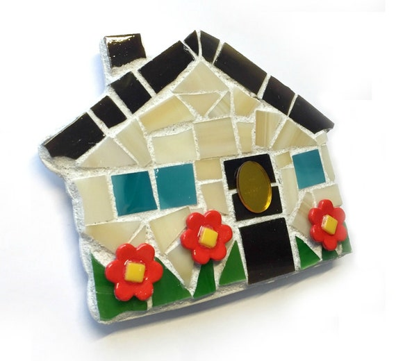 House Magnet, Mosaic Magnet, Home Magnet, Handmade Mosaic House Magnet, HouseWarming Mosaic Magnet, Home and Garden Kitchen Magnet