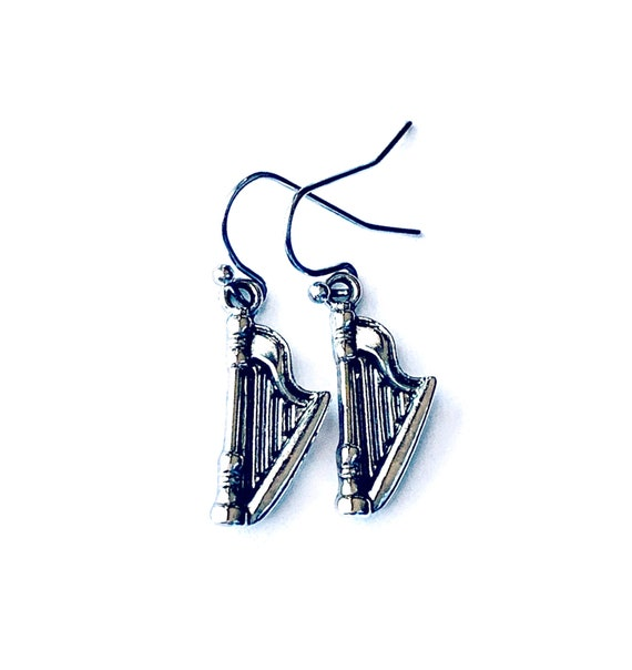 Music HARP Earrings, Silvertone Harp Earrings, Handmade Harp Earrings, Dangling Pierced HARP Earrings, Harp Pierced Earrings, Musical Harp