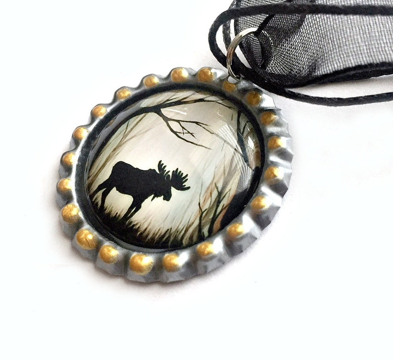 Moose Organza Ribbon Bottle Cap Pendant Maine Moose Choker Necklace Moose Choker Necklace Black Brown Moose in the Woods Pendant