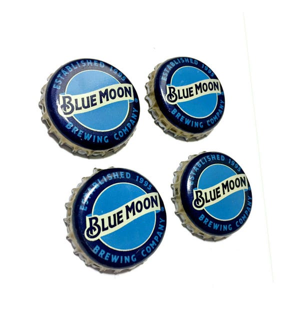 Beer Magnets, Bottle Cap Magnets, Blue Moon Bottle Cap Magnets, Bar Magnet Set, Four Beer Bottle Magnets, Blue Magnets, Microbrew Magnets