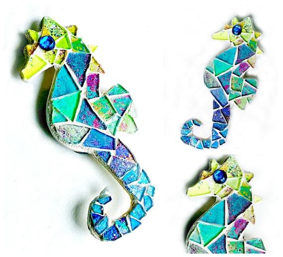 Mosaic Seahorse Magnet, Mosaic Glitter Seahorse Magnet, Blue Green Purple Seahorse Magnet, Rhinestone Eye Sea Horse Mosaic Magnet