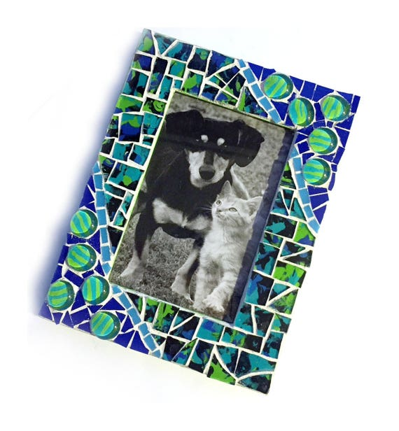 SALE Blue Green Mosaic Photo Frame, Lime Green Mosaic Frame, 4x6 Photo Mosaic Frame, Cobalt Blue Lime Green Mosaic Picture Frame, 4x6 Frame