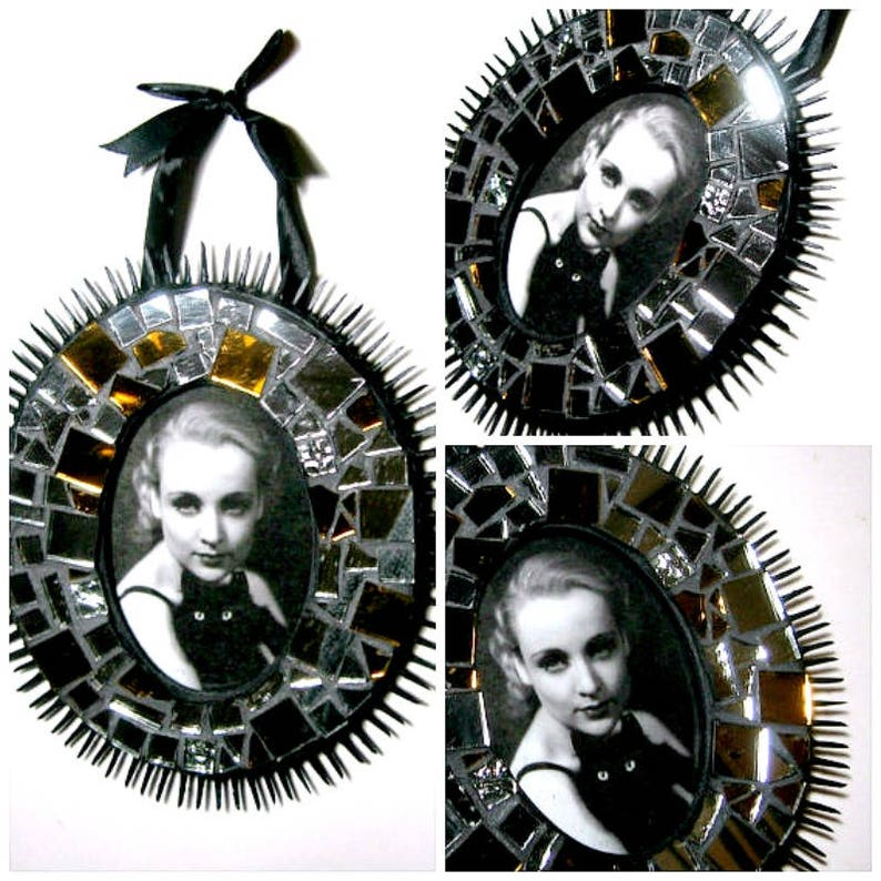 Black Silver Mosaic Frame Black Spiked Mosaic Frame Oval Mosaic Picture Frame Sparkly Mosaic Frame Mirror Frame Handmade Mosaic Frame