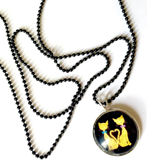 Cat Necklace, Kitty Cats Pendant, 16mm Black Cat Pendant with 24 inch Black Chain, Black Cat Necklace, Cat Love Pendant, Cat Heart Pendant