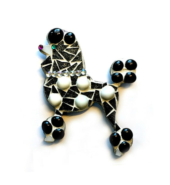 Large Poodle Magnet, Mosaic Poodle, Black Poodle Magnet, Polka Dot Poodle, Mixed Media Poodle Art, Mosaic Poodle Dog Wall Hanging