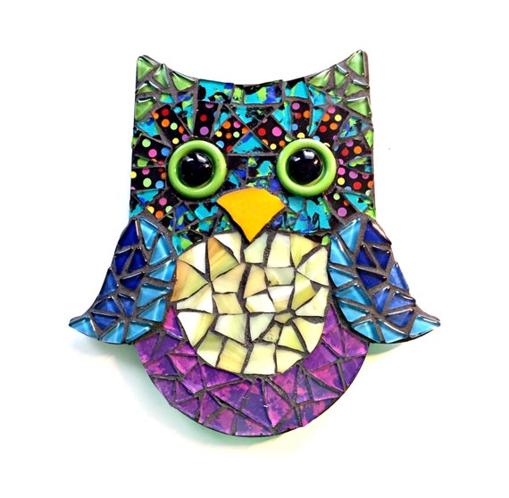 Mosaic Owl, Mixed Media Owl Wall Decor, Black Blue Purple Mosaic Owl Art, Mosaic Wall Art, Mosaic Owl Wall Hanging, Mosaic Owl Art