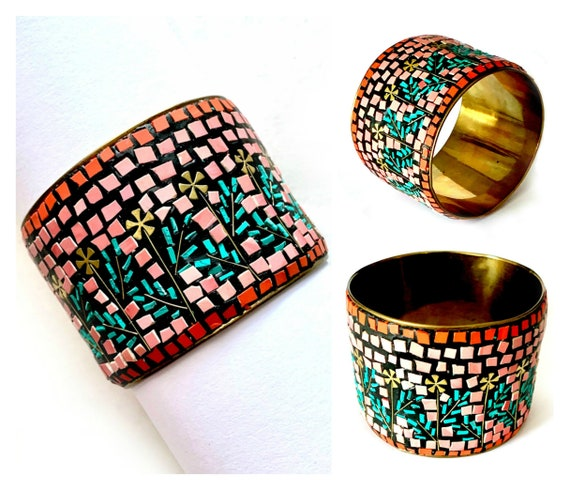 Brass Mosaic Wide Cuff Bracelet, Vintage Floral Mosaic Brass Cuff Bracelet, Flower Mosaic Bracelet, Coral Teal Black Mosaic and Brass Cuff