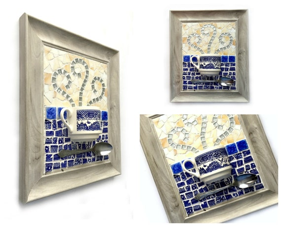 Mosaic Teacup Coffee Cup Art, Blue Willow Mosaic Coffee Cup Art, Blue Willow Mixed Media Coffee Art, Tea Coffee Lover Kitchen Mosaic Art