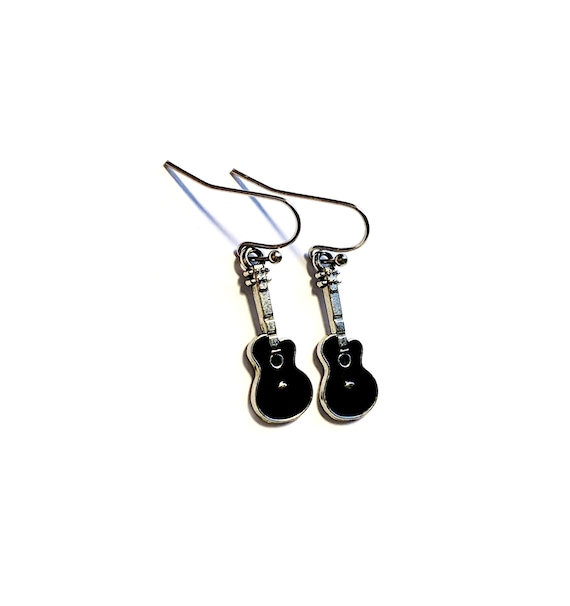 Guitar Earrings, Silvertone and Black Enamel Guitar Earrings, Acoustic Guitar Earrings, Dangling Guitar Earrings, Black Guitar Earrings