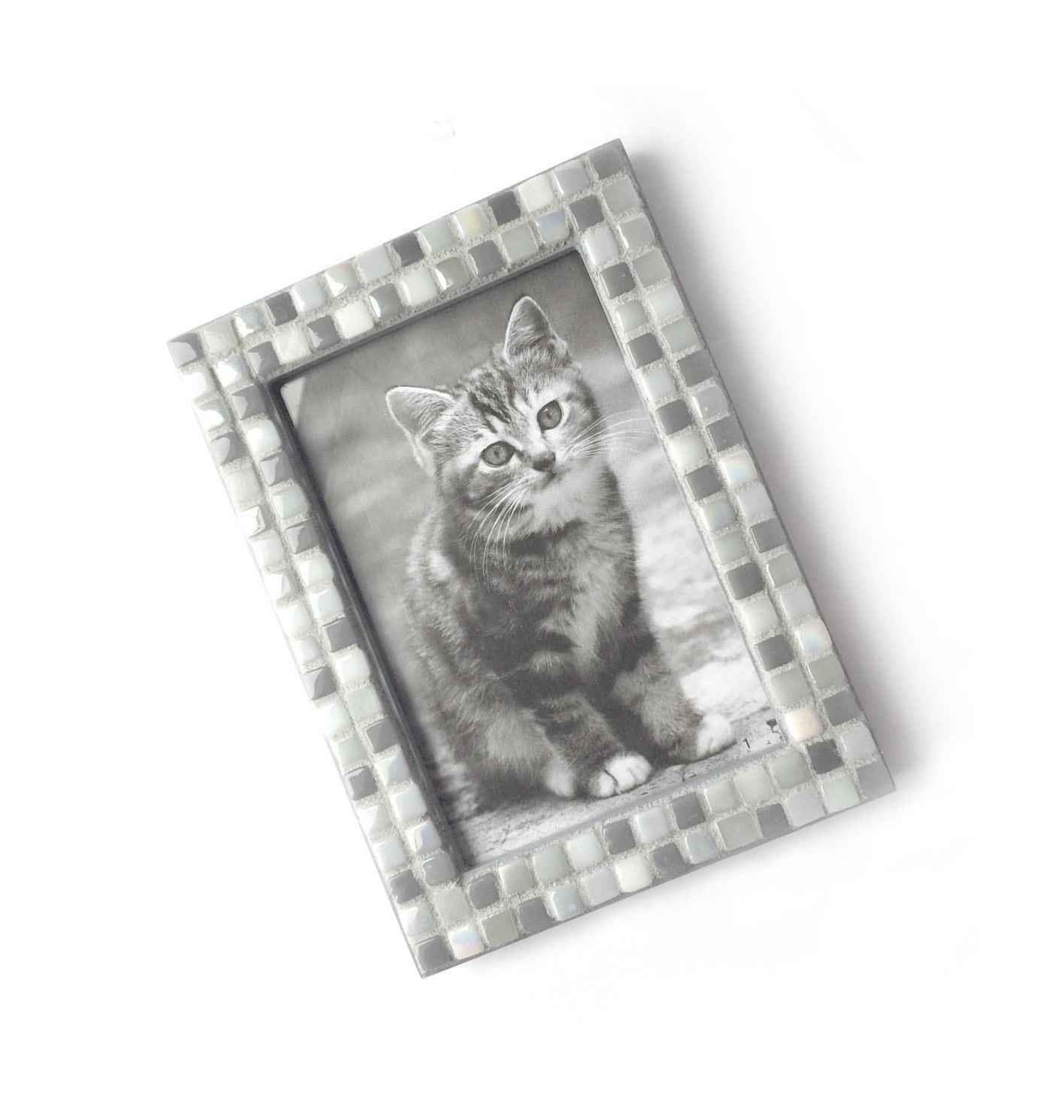 Mosaic Frame, Gray Grey Frame, 4x6 Glass Tile Frame, Handmade ...