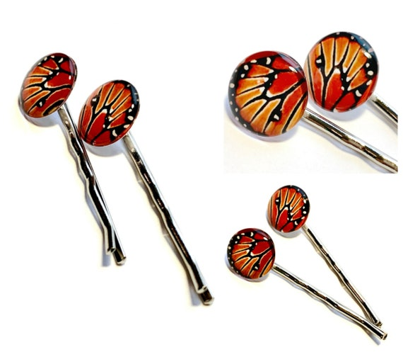 Monarch Butterfly Hair Clip Set, TWO Monarch Wing Hair Pins, Set of Two Monarch Butterfly Hair Clips, Monarch Butterfly Wing Bobby Pin Set