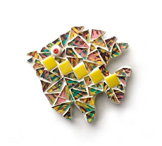 Mosaic Fish Magnet, Mosaic Magnet, Tropical Fish Magnet, Handmade Mosaic Fish Magnet, Yellow Multi Color Fish Magnet, Fish Kitchen Magnet