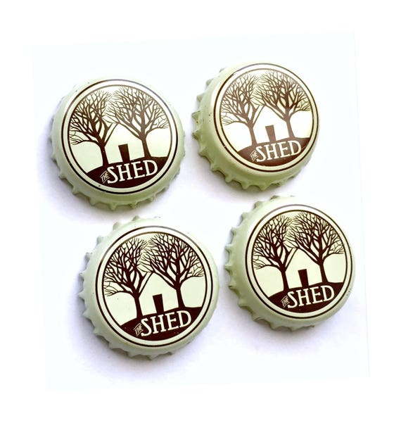 Craft Beer Magnet Set, The Shed Beer Cap Magnets, Beer Bottle Top Magnets, Set of Four, File Cabinet Magnet, Refridgerator Magnets