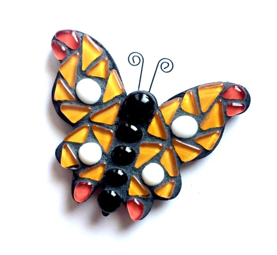 Butterfly Magnet, 3D Butterfly Magnet, Mosaic Butterfly Magnet, Orange Red Butterfly Magnet, Large Butterfly Magnet, Decorative Magnet