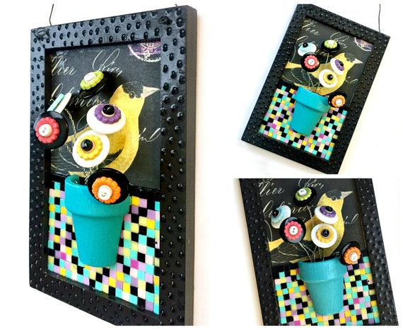 Flower Bird Mixed Media Mosaic Art, 3D Bird Flower Art Plaque, Goldfinch Art Mixed Media Wall Decor, Black Turquoise Aqua Bird Flower Art