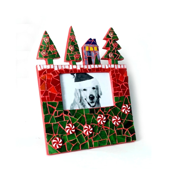 SALE Christmas Mosaic Frame, Happy Holidays Mosaic Frame, Christmas Tree Frame, 4x6 Mosaic Xmas Frame, Red Green Mosaic Frame, Holiday Frame