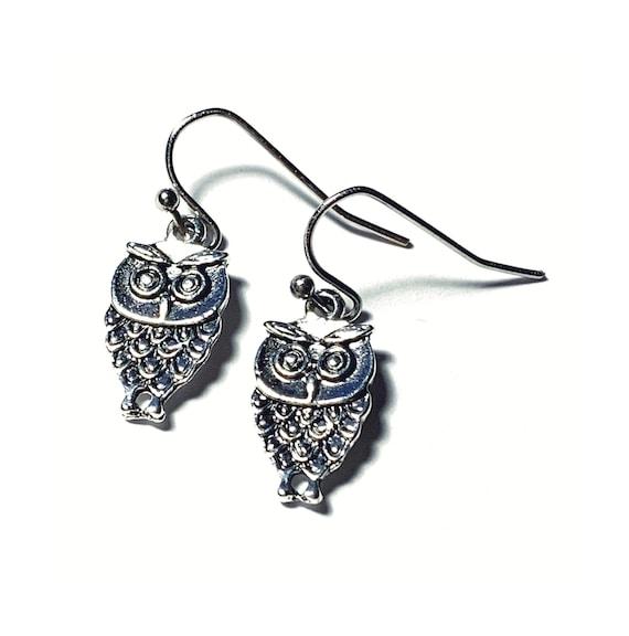 Owl Earrings, Silvertone Owl Earrings, Handmade Dangling Owl Earrings, Owls on Ear Wires, Pierced Silver Owl Earrings, Hoot Owl Earrings