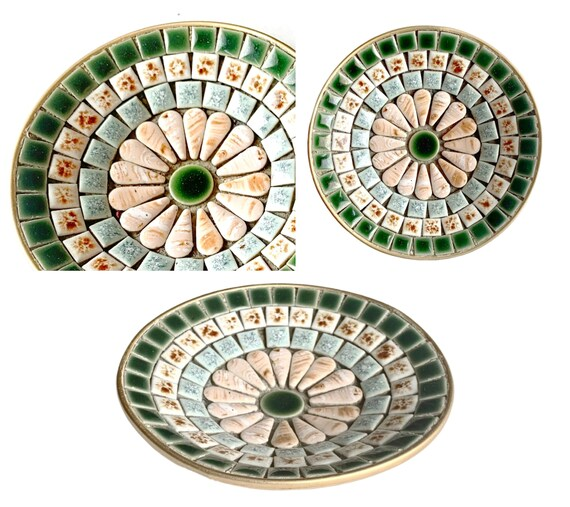 Vintage Mosaic Dish, Green Beige Mosaic Dish, Small Vintage Mosaic Dish, MCM Mosaic Ring Dish, Mosaic Change Catcher, Retro Mosaic Dish