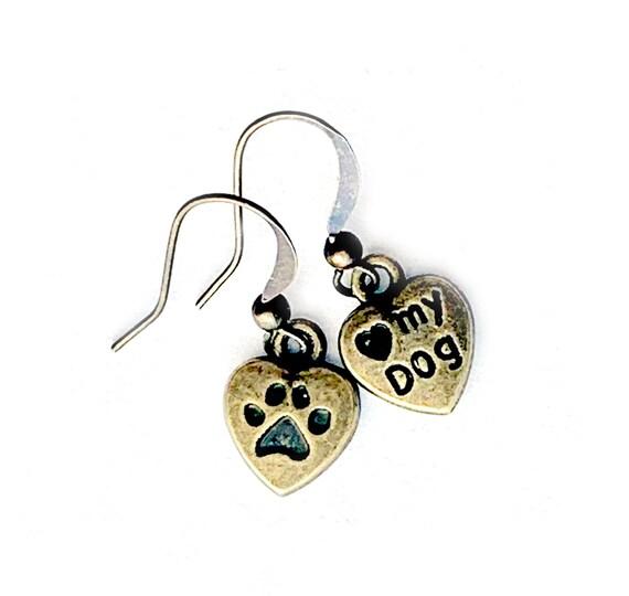 Bronze Brass Dog Earrings, Pierced Antique Bronze Dog Print Love Earrings, Handmade Dog Love Earrings, Dangling Bronze Love My Dog Earrings