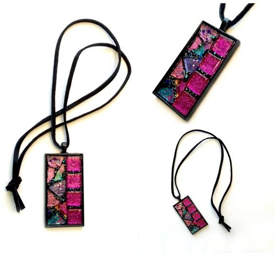 Mosaic Pendant, Pink Black Glitter Mosaic Pendant, Pink Iridescent Mosaic Pendant on Suede Cord, Handmade Black Pink Mosaic Pendant
