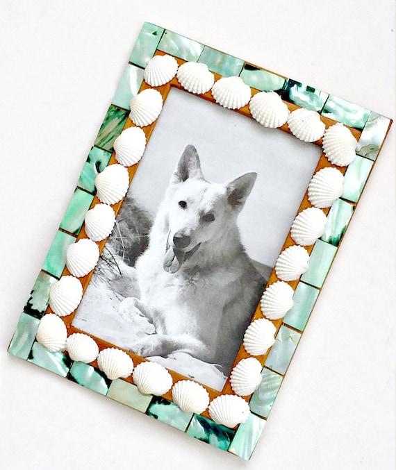 SALE Shell Mosaic Frame, 4x6 Mosaic Frame, Sand Sea Beach Frame, Seashell Frame, Aqua Blue Sea Shell Frame, Embellished Mosaic Photo Frame