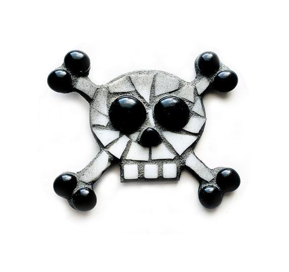 Skull Magnet, Mosaic Skull Magnet, Handmade Mosaic Skull Magnet, Halloween Skull Magnet, Day of the Dead Skull Magnet, Día de Muertos Magnet