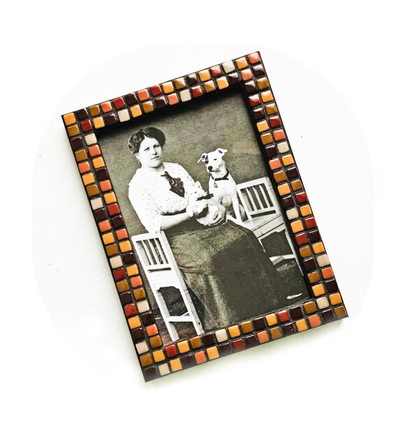 Brown Black Mosaic Glass Tile Frame, Glass Tile Mosaic Frame, Black Frame with Mini Glass Tiles, Brown and Black  5x7 Mosaic Tile Frame