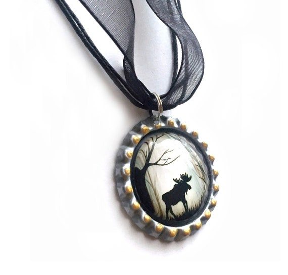 Moose Choker Necklace, Maine Moose Choker Necklace, Moose Organza Ribbon Bottle Cap Pendant, Black Brown Moose in the Woods Pendant