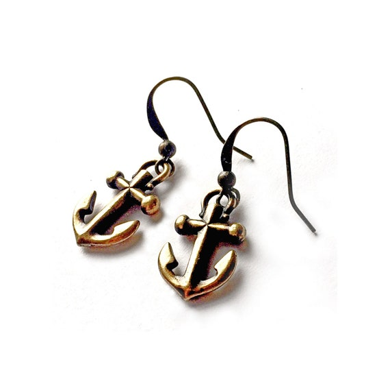 Bronze Brass Anchor Earrings, Pierced Antique Bronze Anchor Earrings, Handmade Anchor Earrings, Dangling Bronze Anchors, Anchor Jewelry