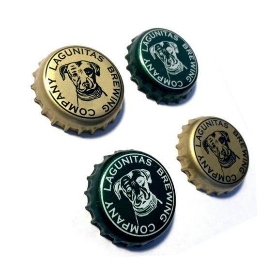 Beer Magnets, Bottle Cap Magnets, Lagunitas Bottle Cap Magnets, Bar Magnet Set, Four Beer Bottle Magnets, Pitbull Magnets, Microbrew Magnets