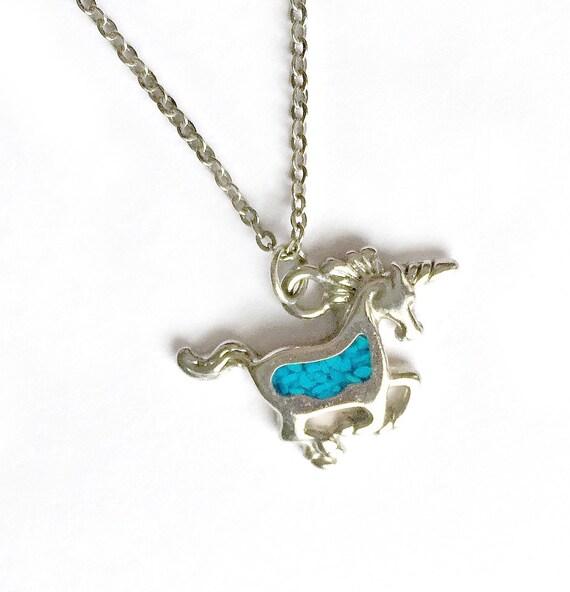 Vintage Silver Unicorn Turquoise Charm Necklace, Silver Unicorn Pendant, Inlaid Crushed Turquoise Mosaic Unicorn Necklace, Unicorn Pendant