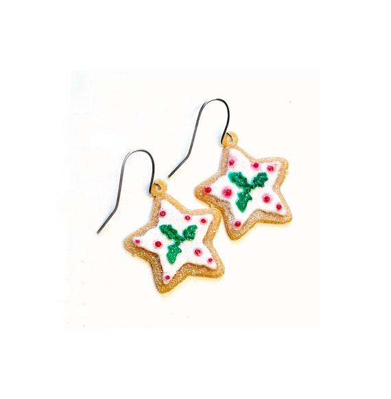 Gingerbread Star Earrings, Gingerbread Cookie Earrings, Dangling GingerBread Stars Earrings, Holiday Sparkly Gingerbread Star Wire Earrings
