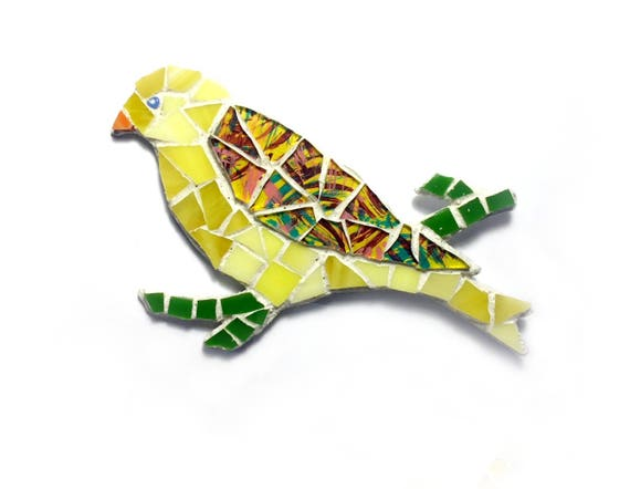 Yellow Mosaic Bird Magnet, 3D Canary Bird Magnet, Mosaic Bird Magnet, Bird Lover Bird Magnet, Yellow Bird Mosaic Art Magnet