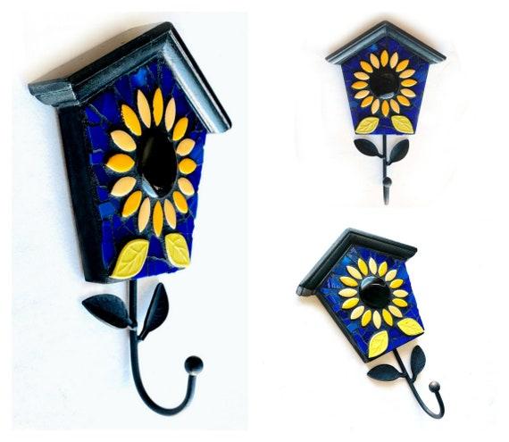 Bird House Mosaic Wall Hook, Sunflower Birdhouse Mosaic Hook, Mosaic Birdhouse Decorative Hook, Blue Yellow Sunflower Mosaic Wall Hook