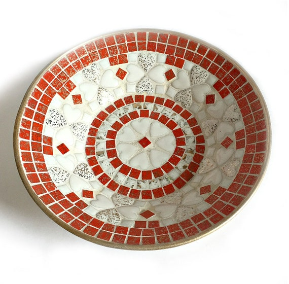 Mid Century Mosaic Bowl, Vintage Orange White Mosaic Bowl, Retro Vintage Mosaic Bowl, 10 inch Mosaic Bowl, Orange Mosaic Dish Bowl,