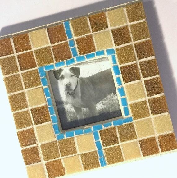 Mosaic Frame, Handmade Glass Tile Frame, Square Caramel Brown Beige Picture Frame, Blue Stripe Brown Picture Frame, Brown Tan Blue Frame